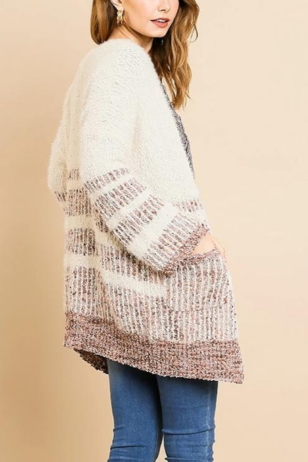 Umgee  Simple Stripes Cardigan - Front Full Image