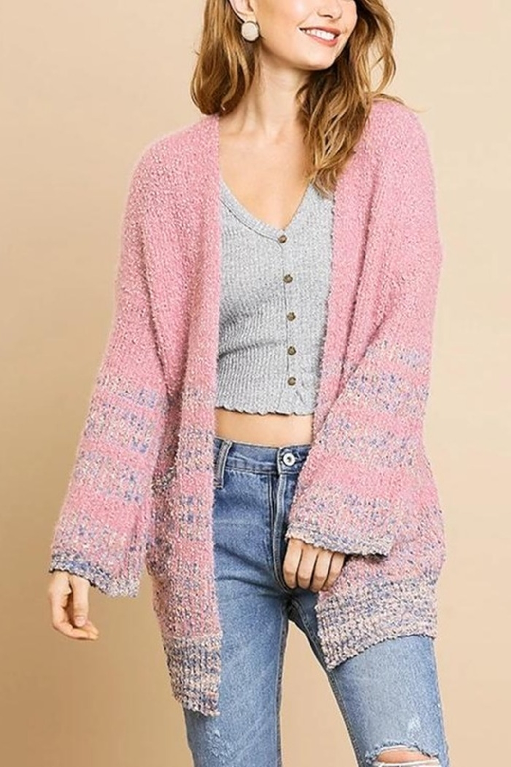 Umgee  Simple Stripes Cardigan - Front Cropped Image