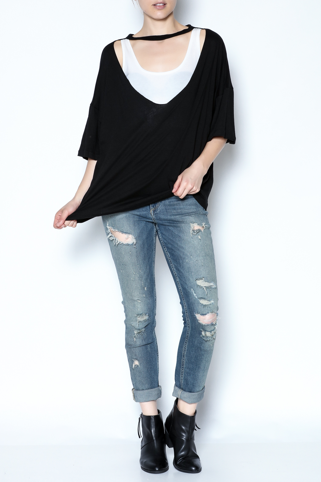 simple the label Metallic Back Tee - Side Cropped Image