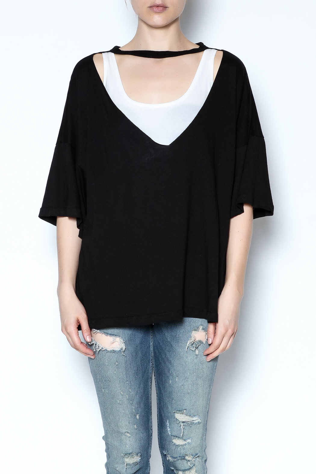 simple the label Metallic Back Tee - Front Full Image