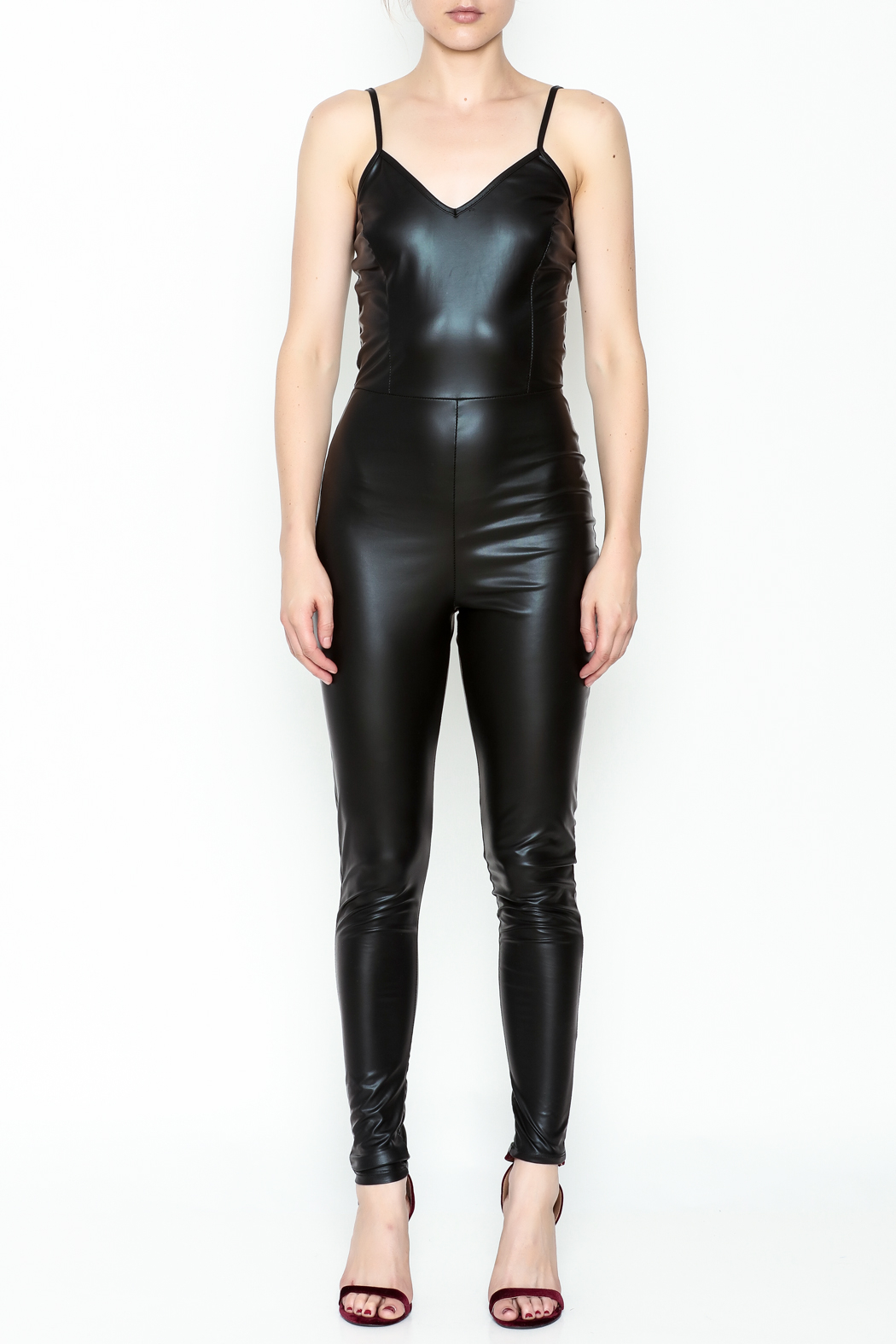 simple the label Faux Leather Body Suit - Front Full Image