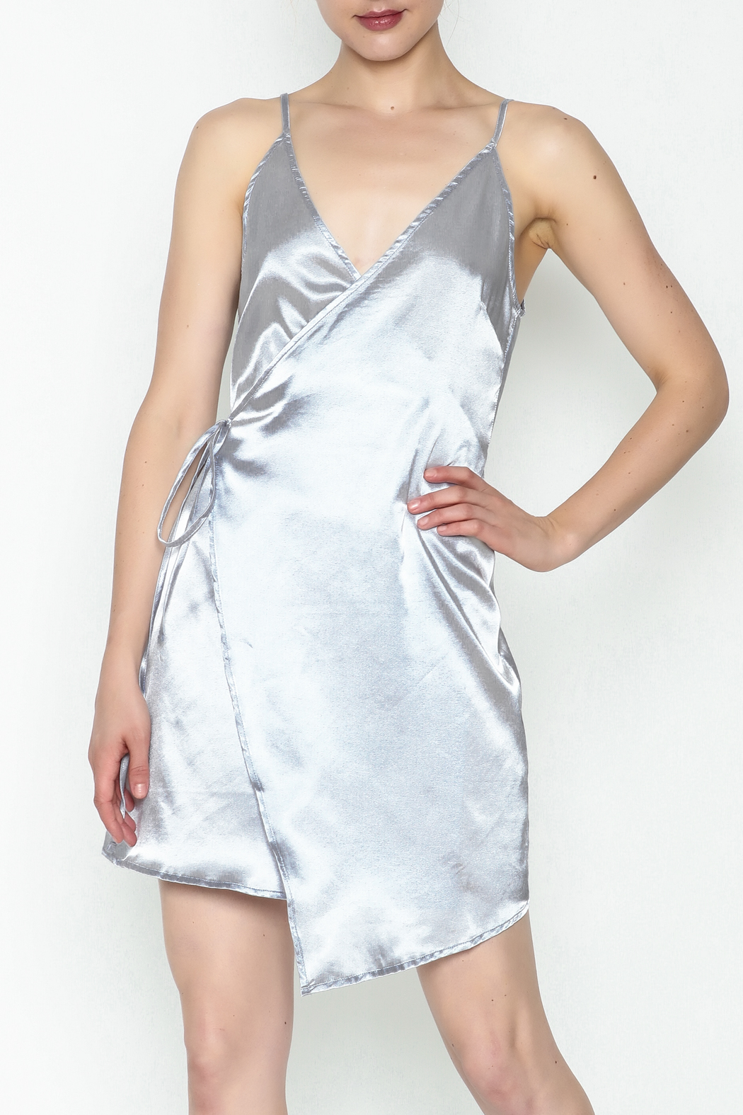simple the label Satin Wrap Dress - Front Cropped Image