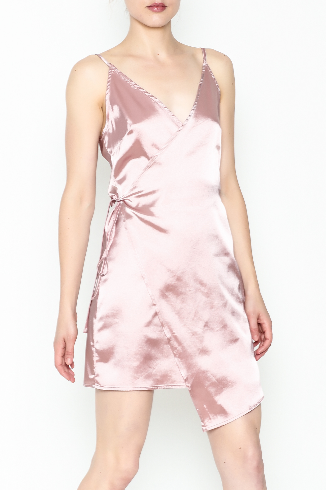 simple the label Satin Wrap Dress - Main Image