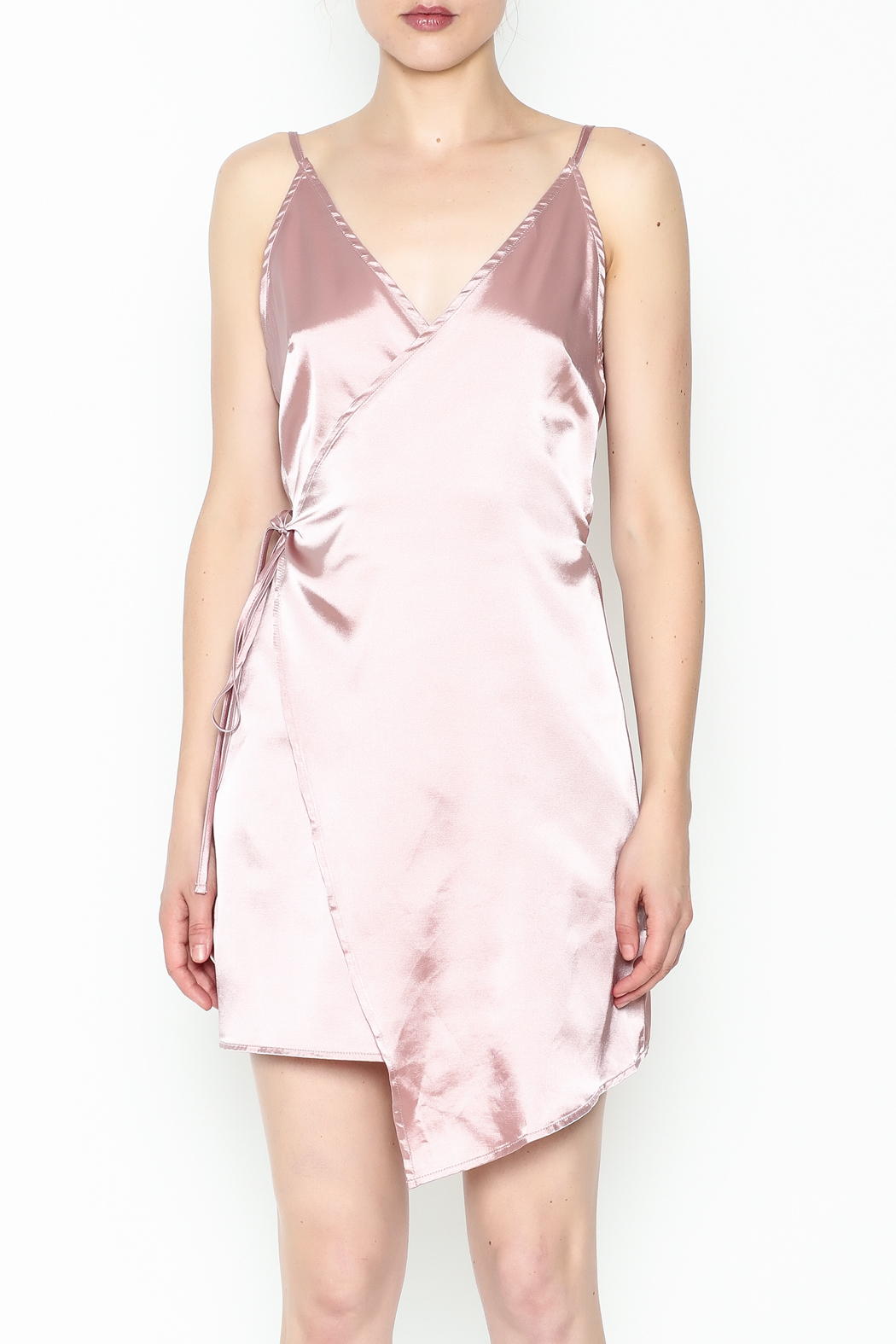simple the label Satin Wrap Dress - Front Full Image