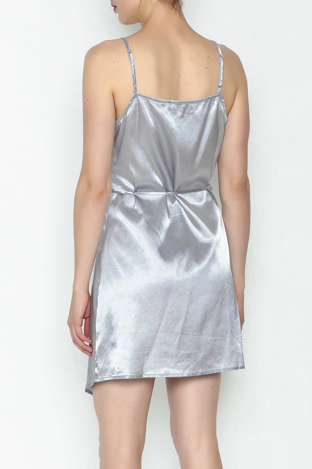 simple the label Satin Wrap Dress - Back Cropped Image