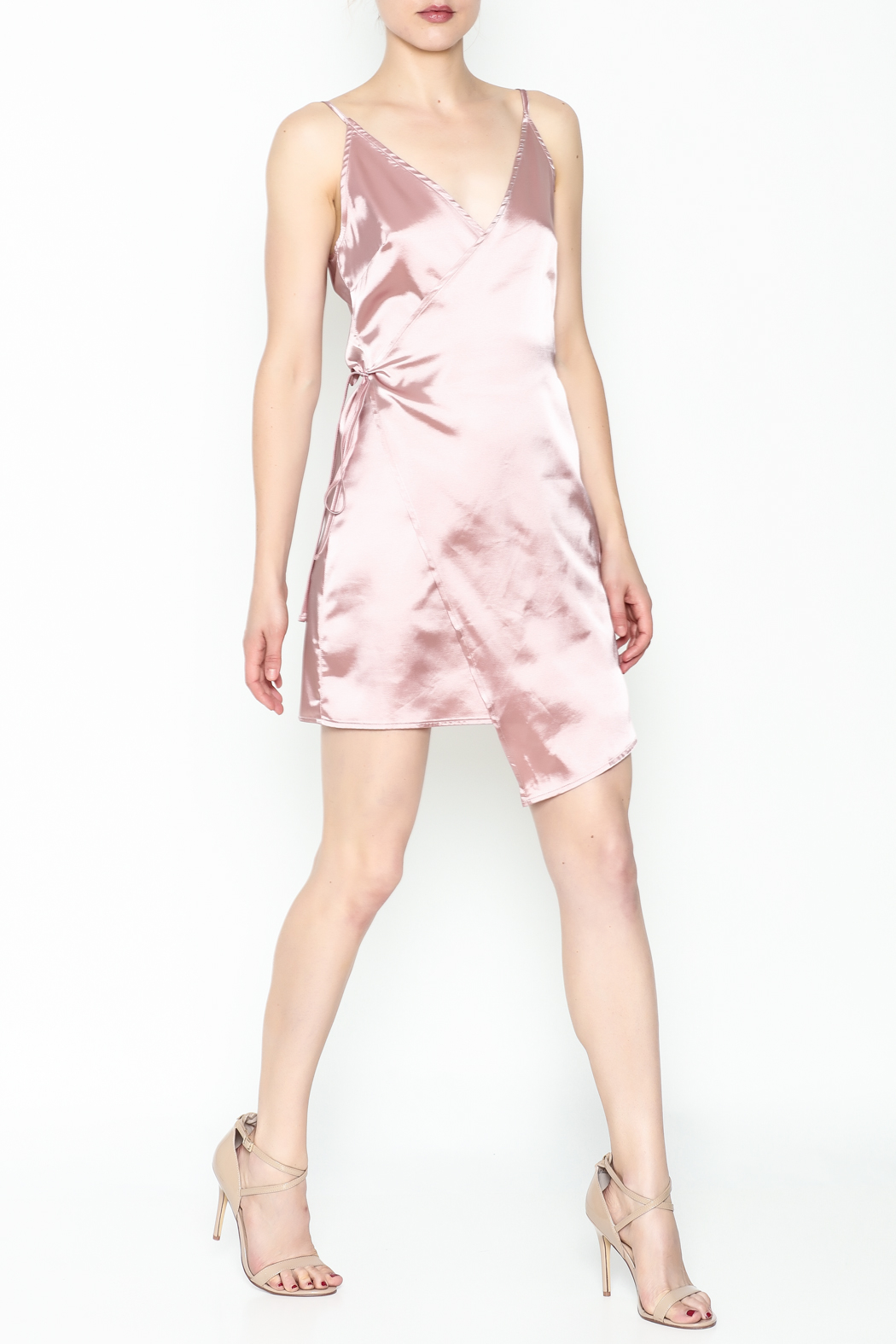 simple the label Satin Wrap Dress - Side Cropped Image
