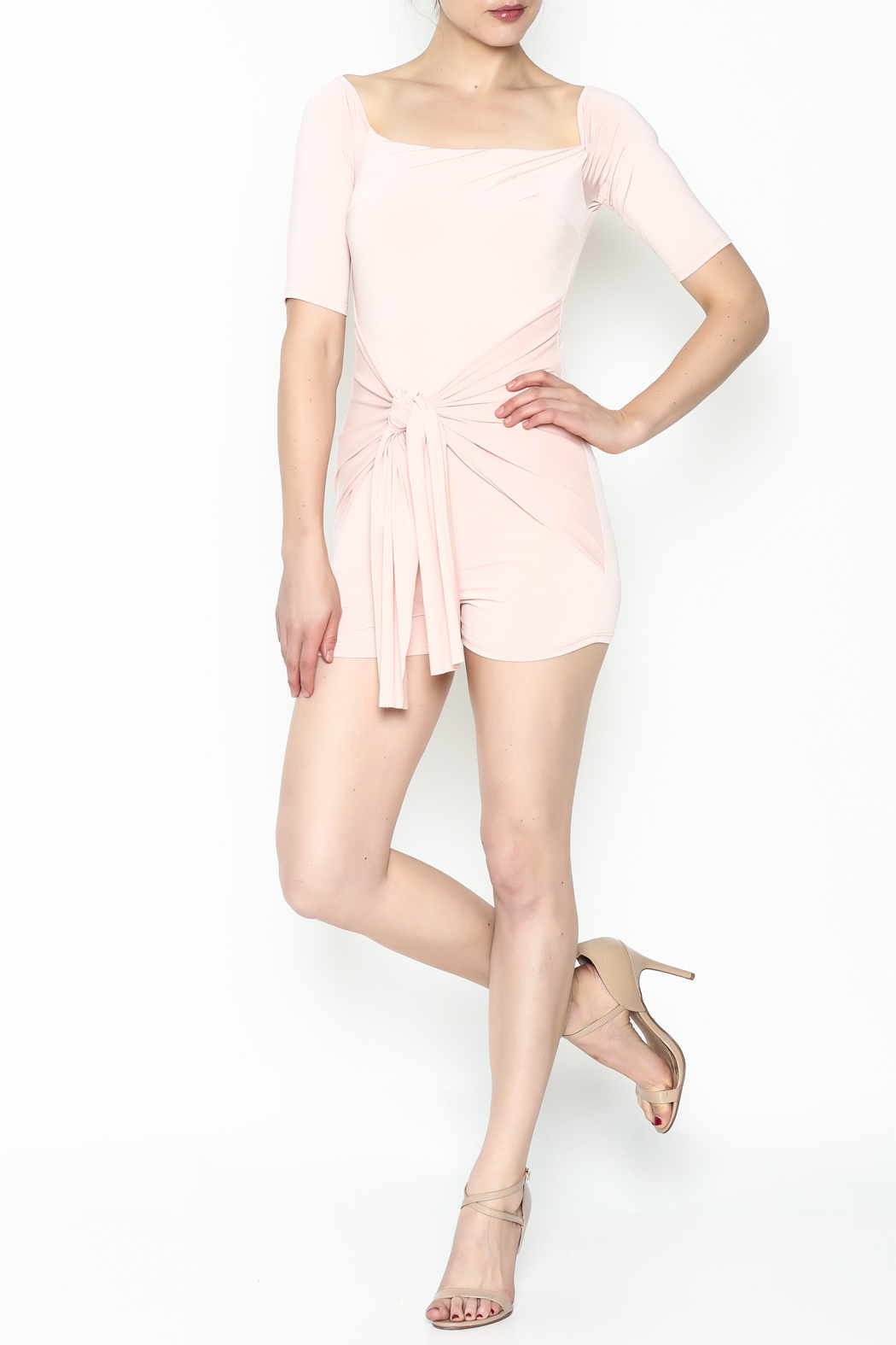 simple the label Tie Front Romper - Side Cropped Image