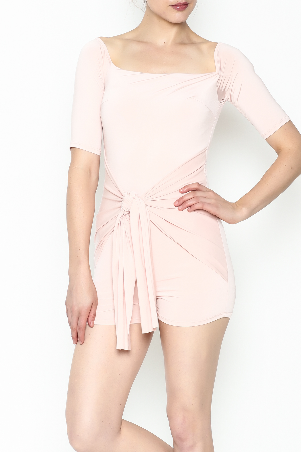 simple the label Tie Front Romper - Front Cropped Image