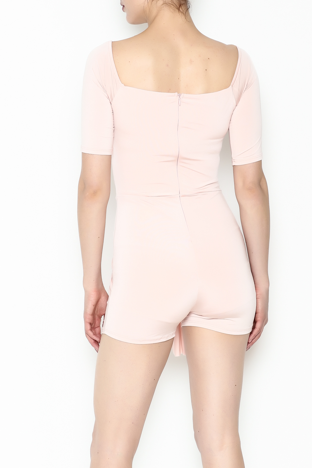 simple the label Tie Front Romper - Back Cropped Image