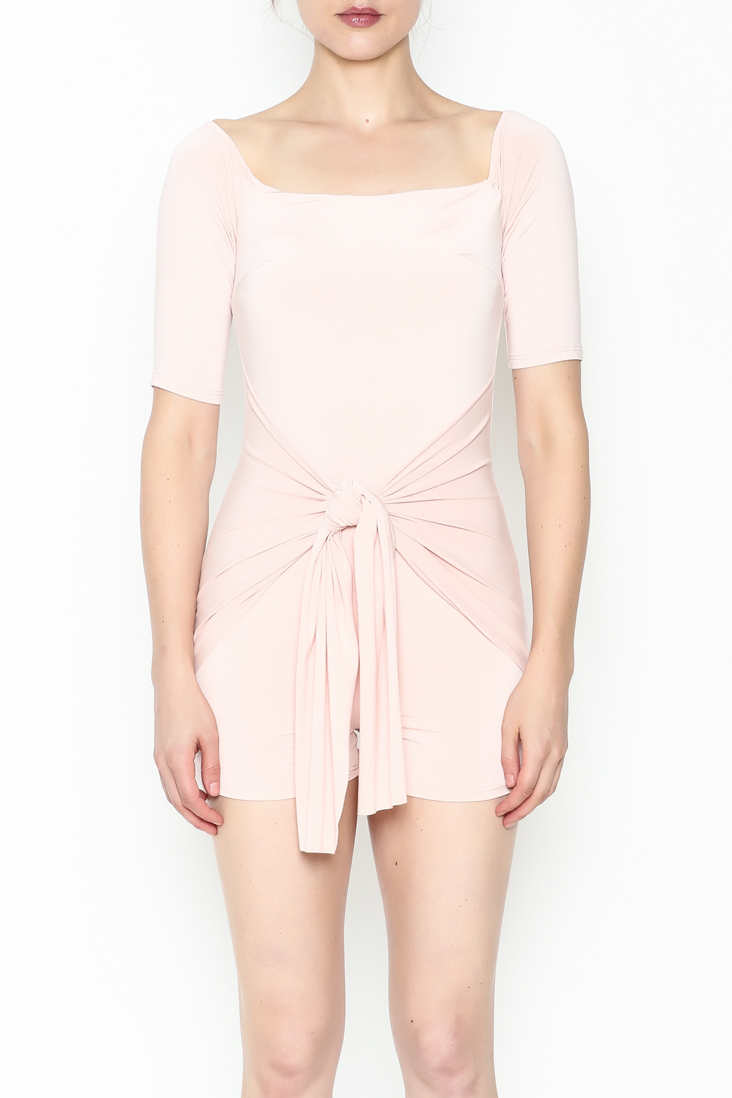 simple the label Tie Front Romper - Front Full Image