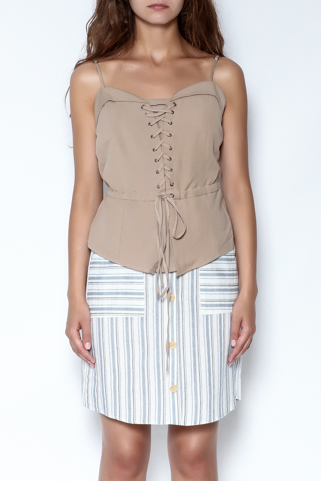 simple the label Tie Up Blouse - Front Full Image