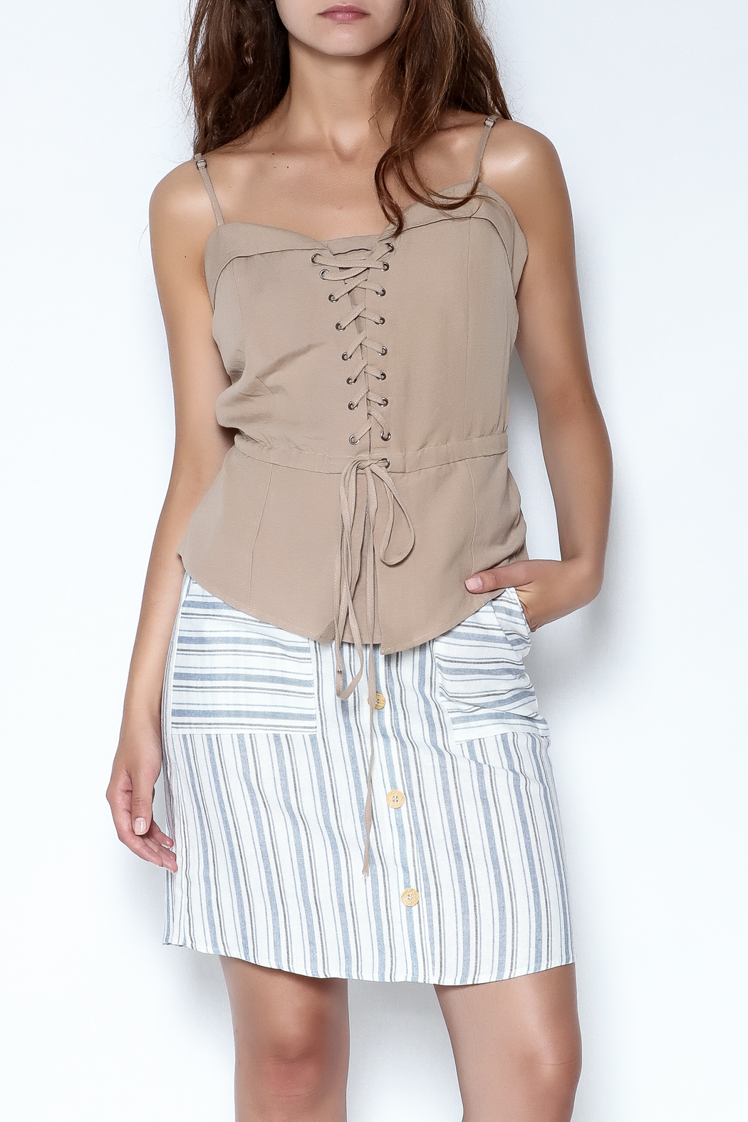simple the label Tie Up Blouse - Front Cropped Image