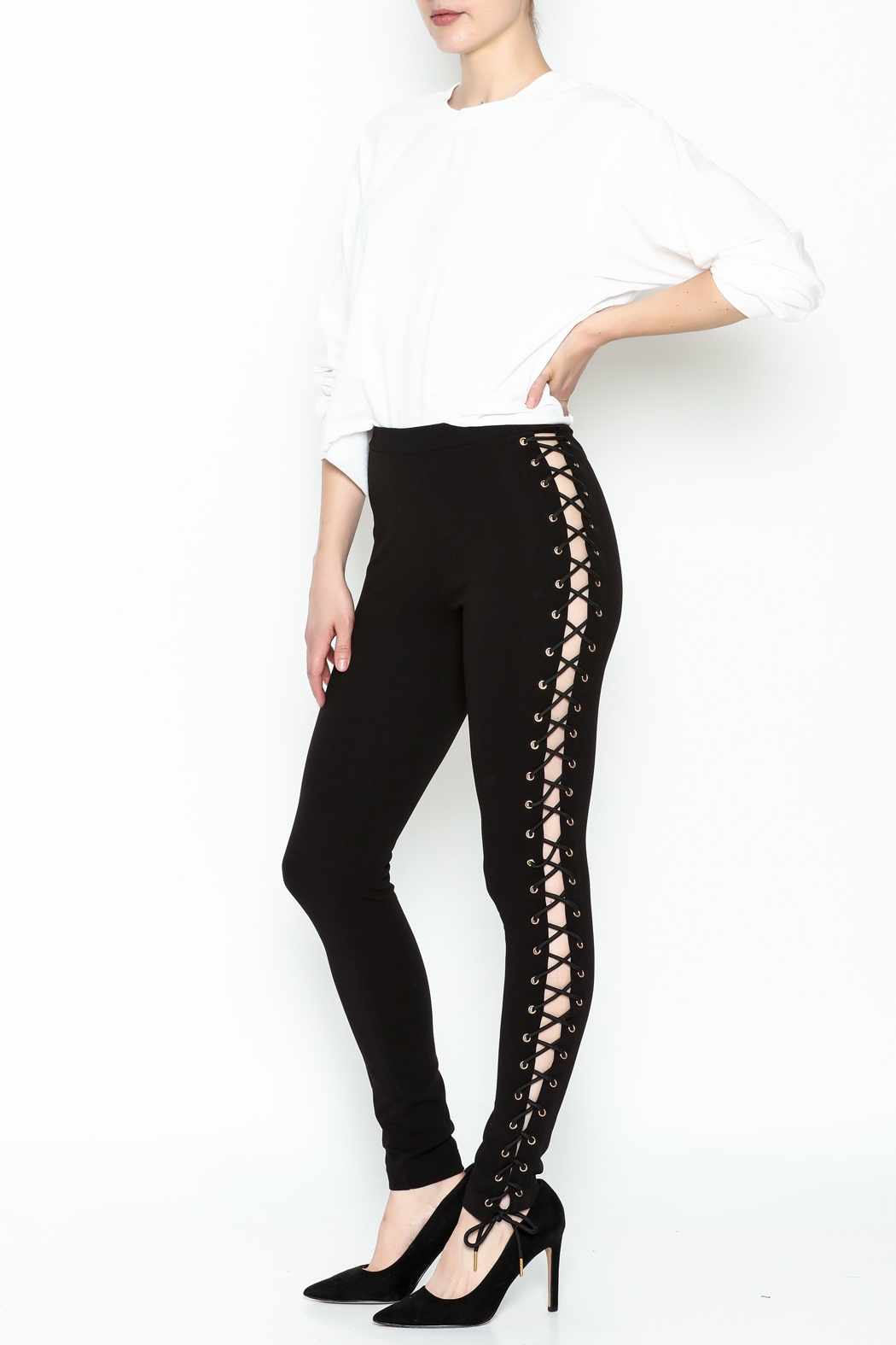 simple the label Tie Up Legging - Side Cropped Image