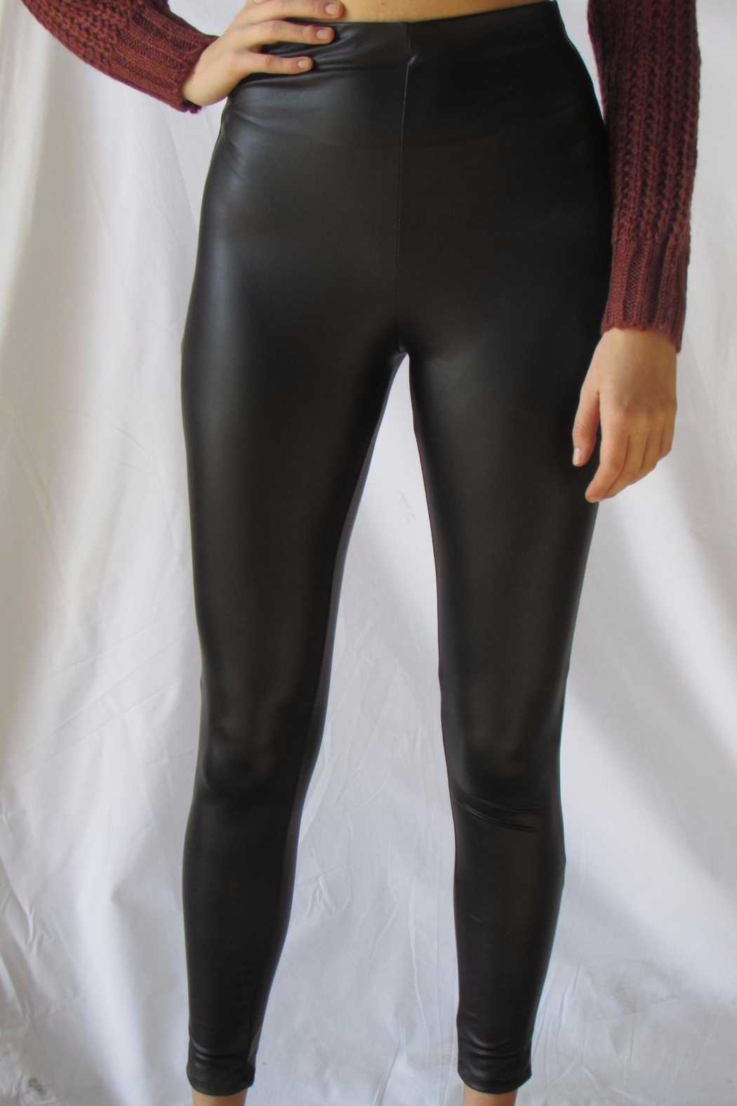 simple the label Gold Pu Legging - Front Cropped Image