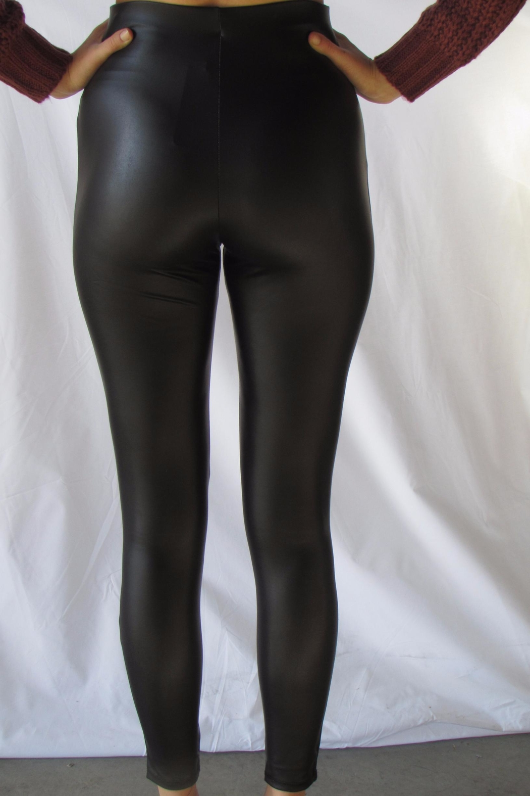 simple the label Gold Pu Legging - Front Full Image