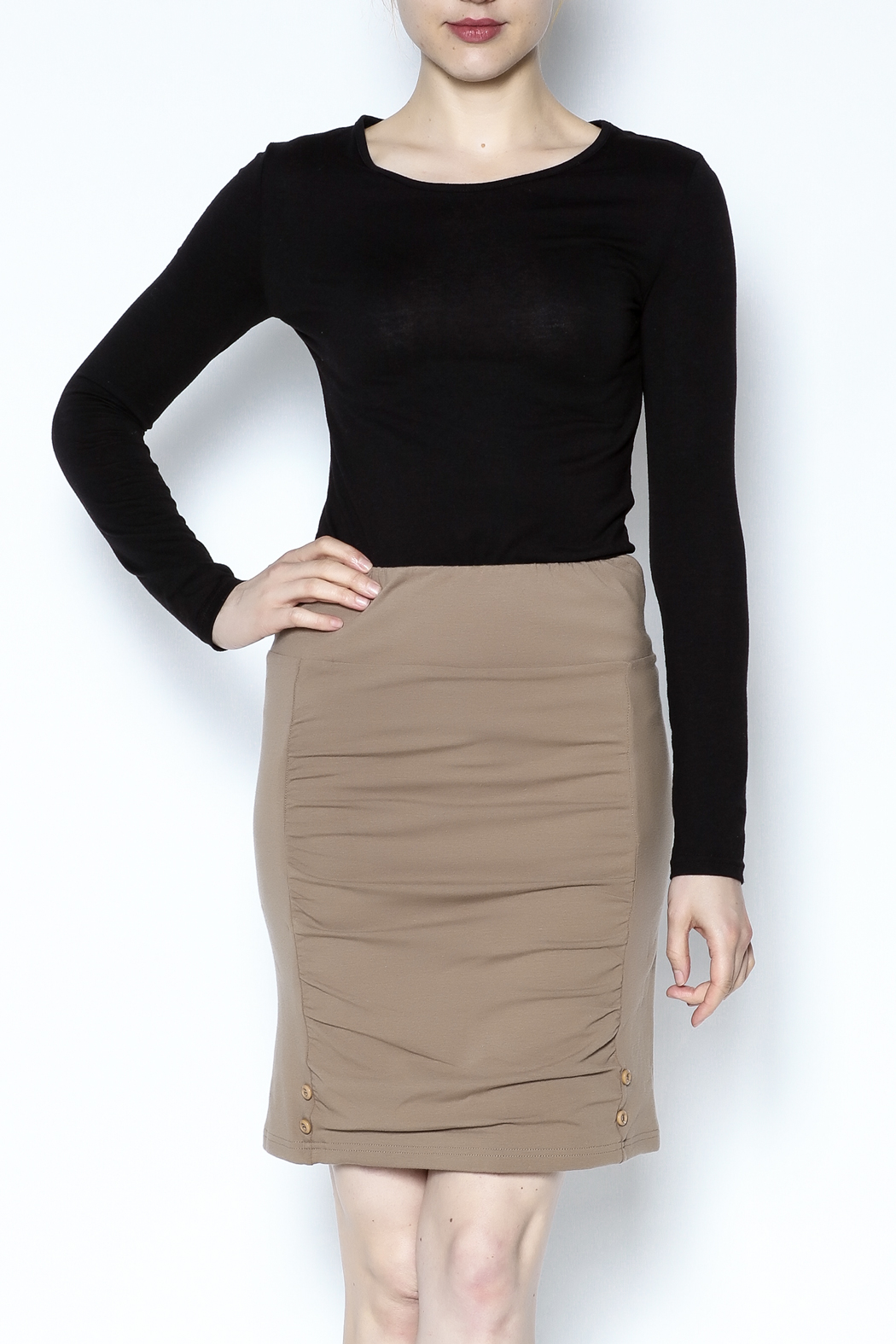 Simply Noelle Adjustable Button Skirt - Front Cropped Image