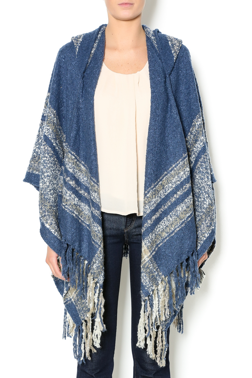 Simply Noelle Denim Blue Poncho - Front Cropped Image