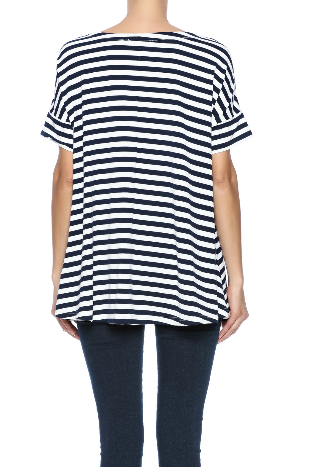 Simply Noelle Nautical Striped Tunic - Back Cropped Image