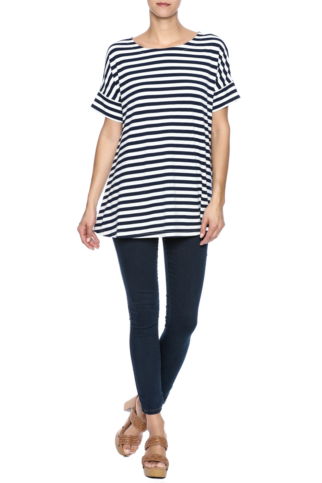 Simply Noelle Nautical Striped Tunic - Front Full Image