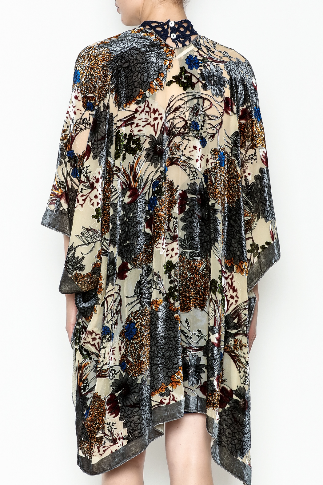 Simply Noelle Floral Burn Out One Size Fits Most Cardi Wrap