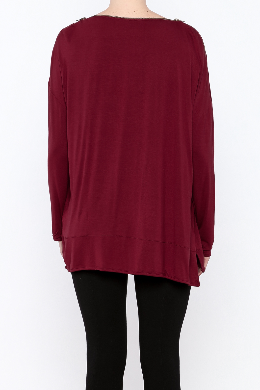 Simply Noelle Zipper Neck Top - Back Cropped Image