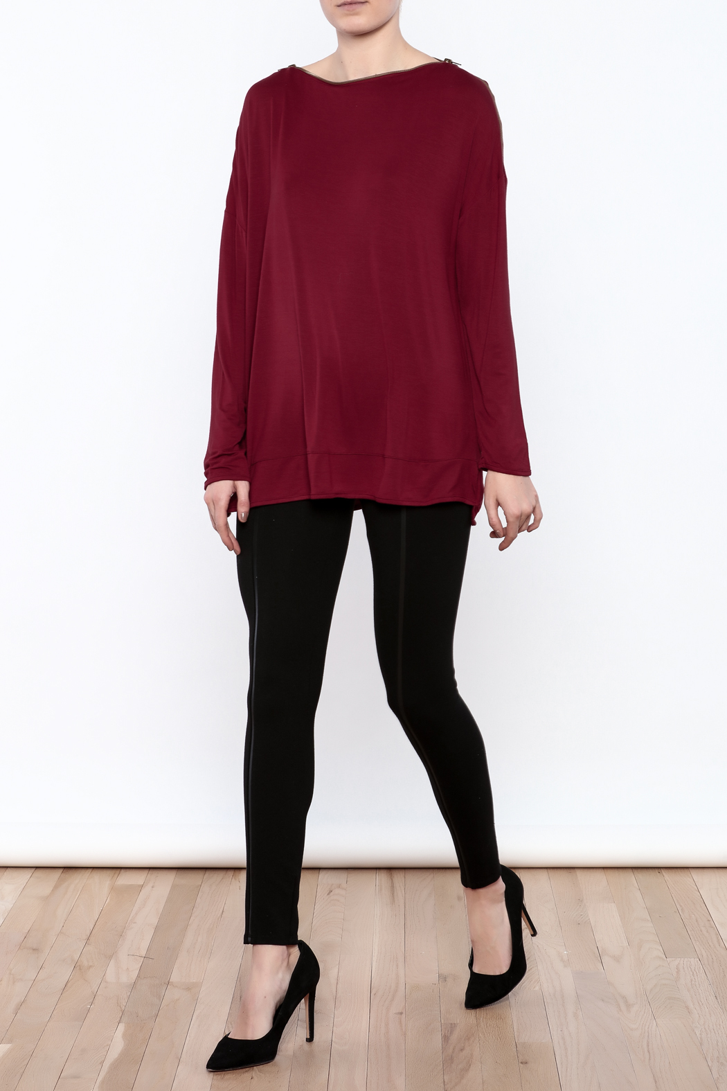 Simply Noelle Zipper Neck Top - Front Full Image