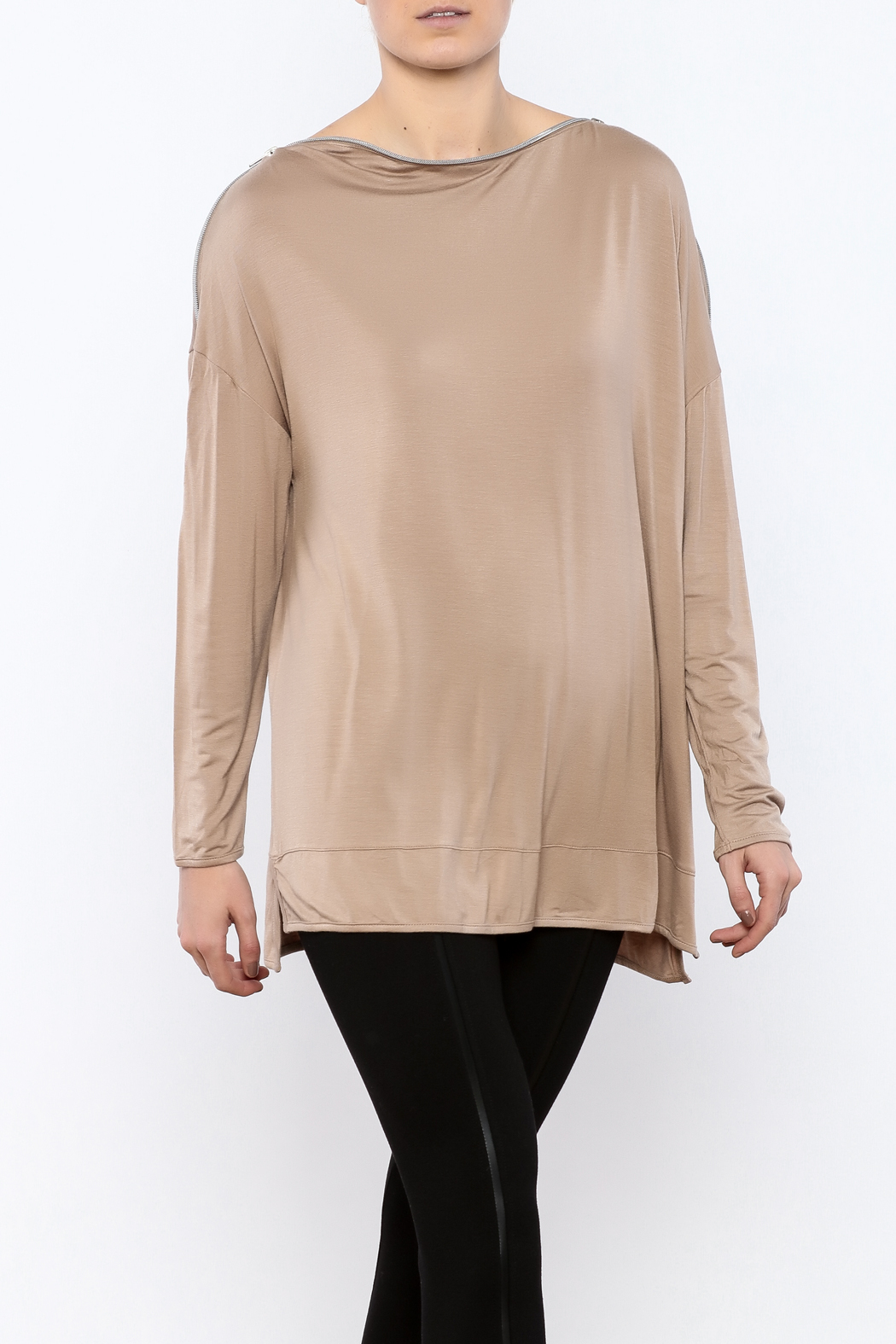 Simply Noelle Zipper Neck Top - Front Cropped Image