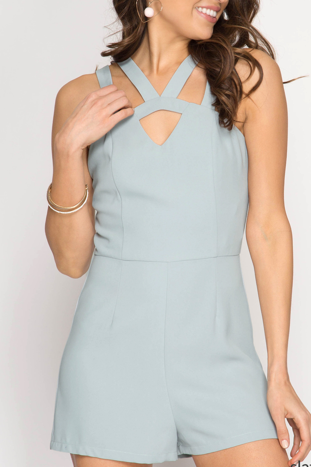 She + Sky Simply Stunning romper - Front Cropped Image