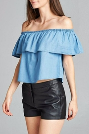 Simply Chic Chambray Off Shoulder Top - Product Mini Image