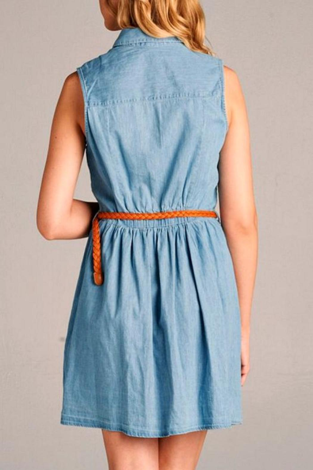 Simply Chic Chambray Shirt Dress - Front Full Image