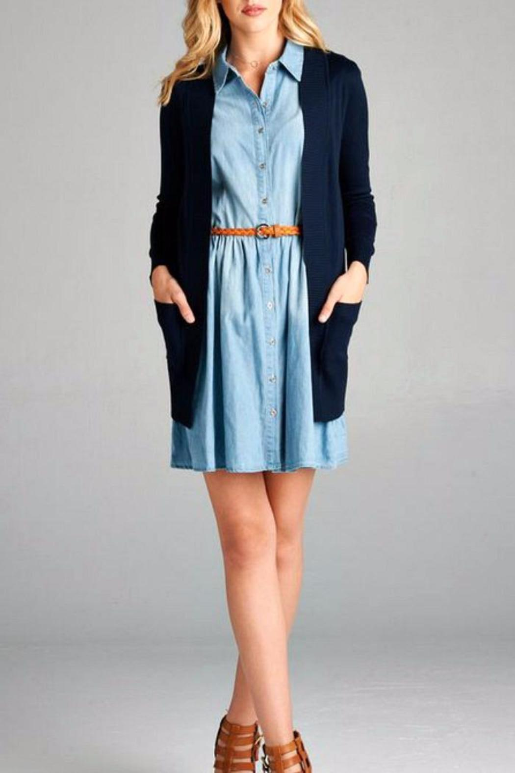 Simply Chic Chambray Shirt Dress - Side Cropped Image