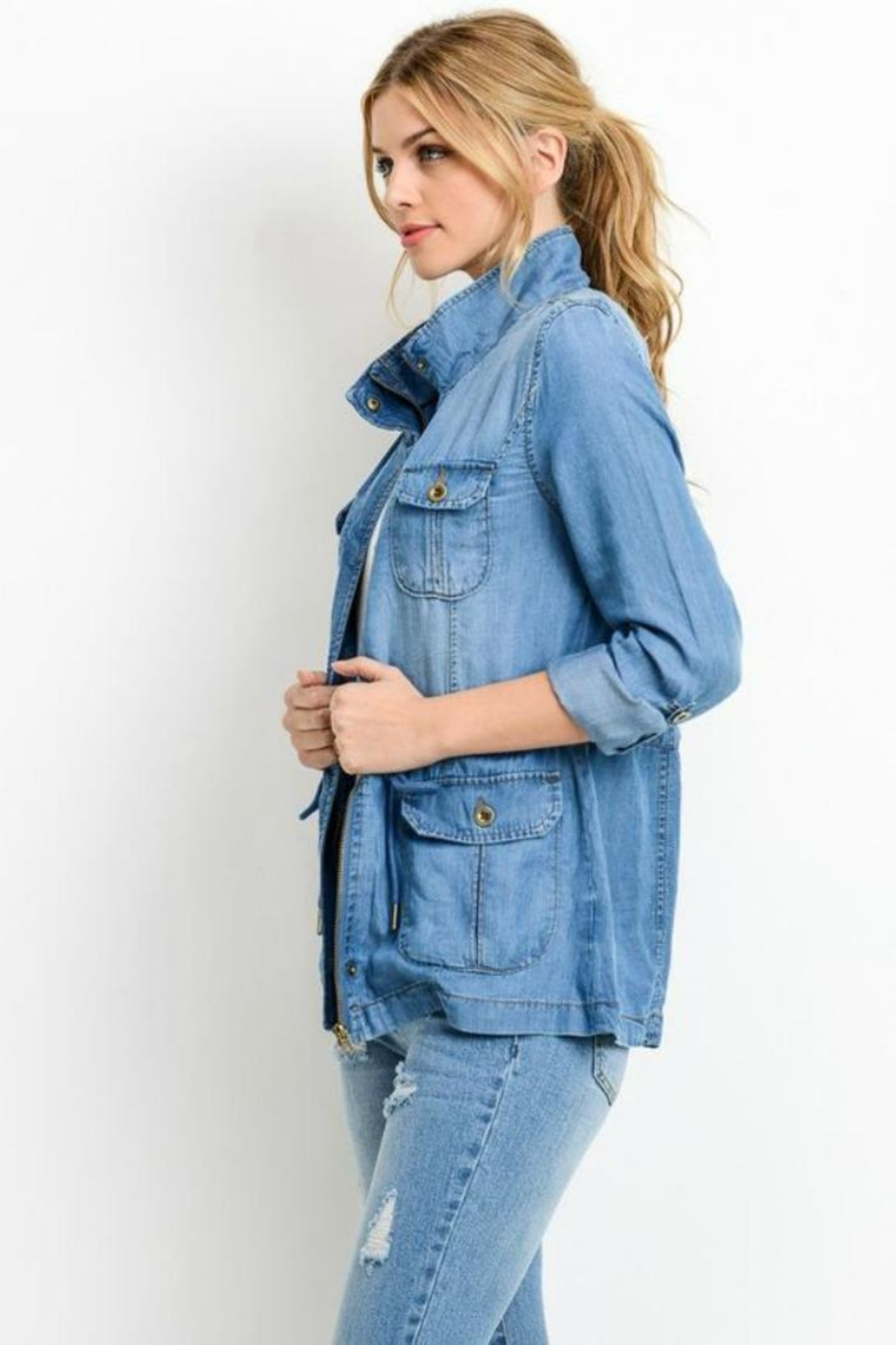 Simply Chic Denim Utility Jacket - Front Full Image