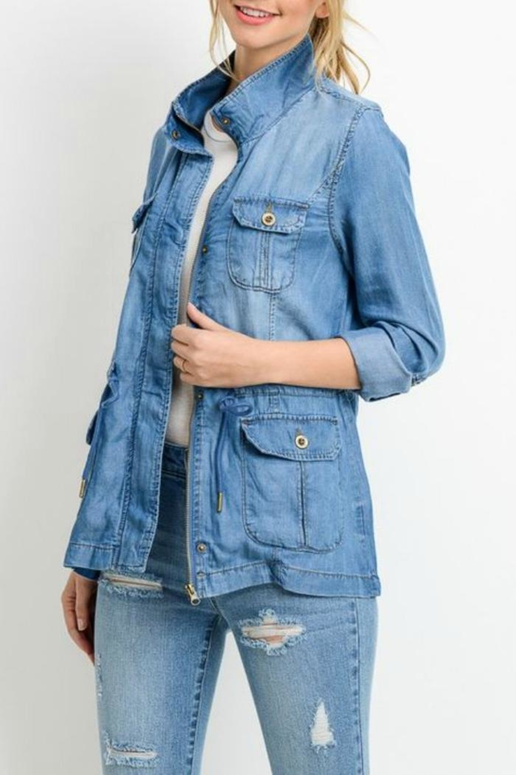 Simply Chic Denim Utility Jacket - Main Image