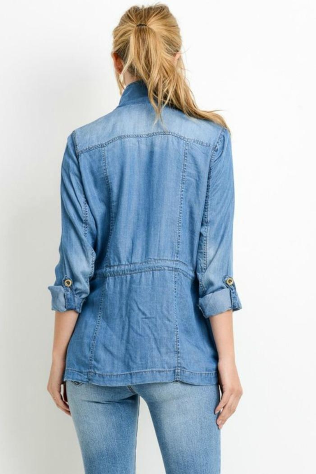 Simply Chic Denim Utility Jacket - Side Cropped Image