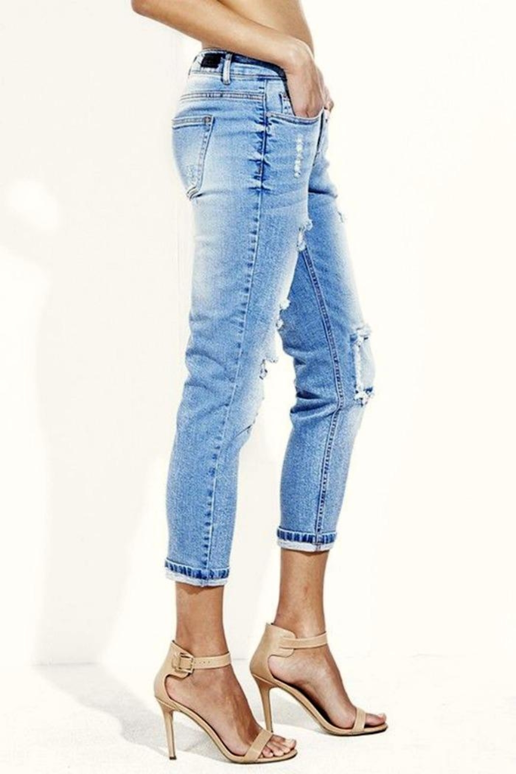 Simply Chic Distressed Boyfriend Jeans - Side Cropped Image
