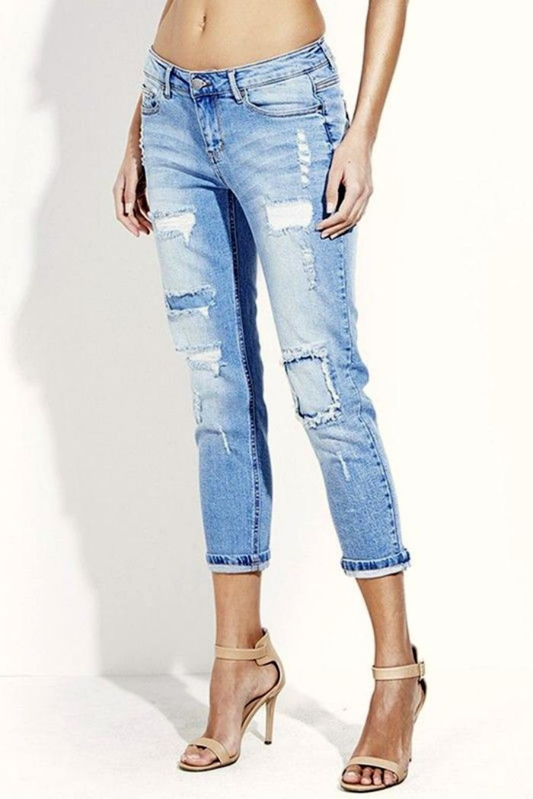 Simply Chic Distressed Boyfriend Jeans - Back Cropped Image