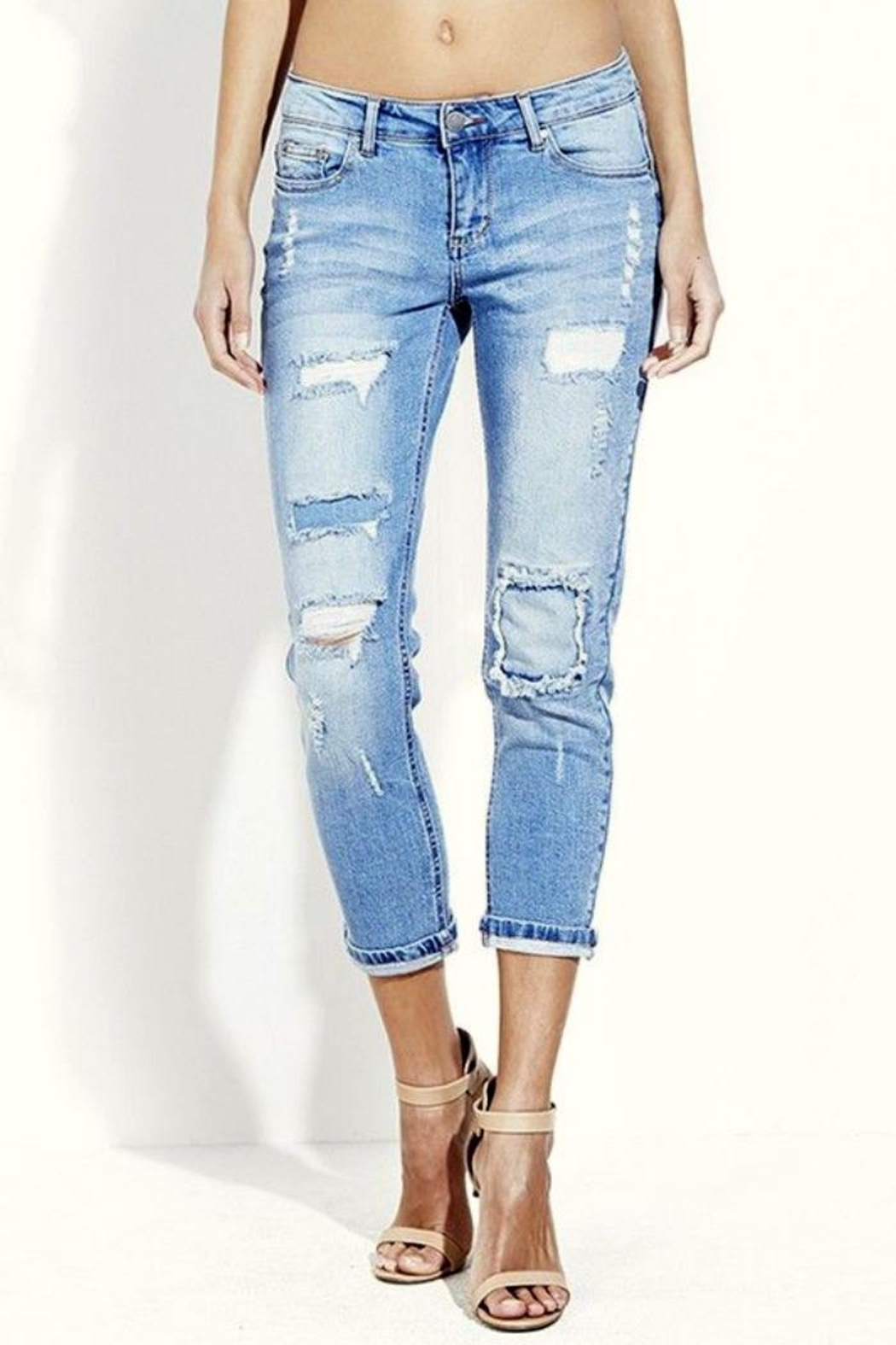 Simply Chic Distressed Boyfriend Jeans - Main Image