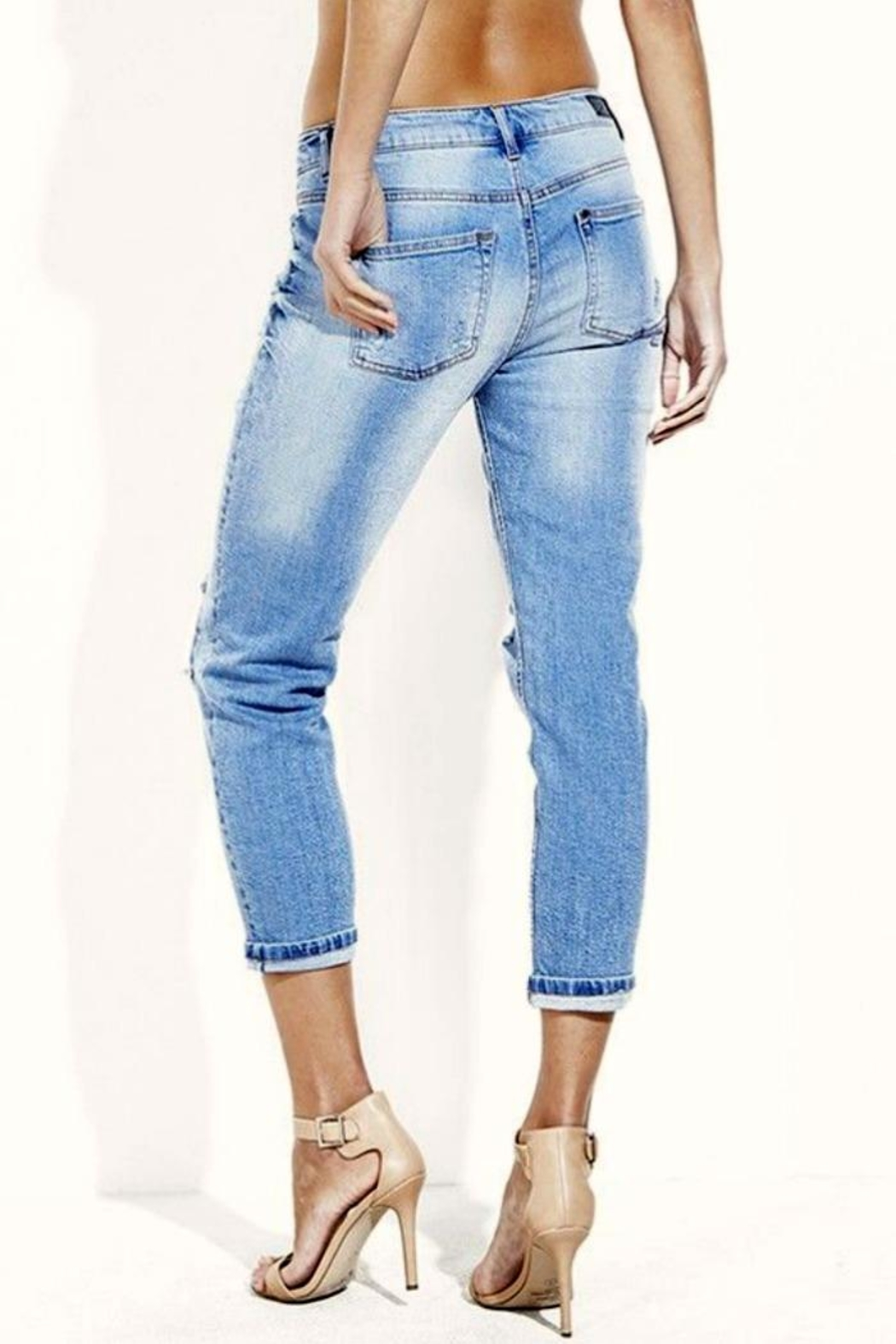 Simply Chic Distressed Boyfriend Jeans - Front Full Image