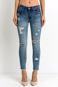 Simply Chic Distressed Fray Hem Jeans - Product List Image