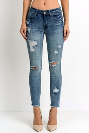 Simply Chic Distressed Fray Hem Jeans - Product Mini Image