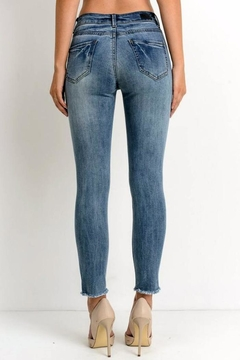 Simply Chic Distressed Fray Hem Jeans - Alternate List Image