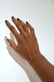 Simply Chic Gold Hand-Chain Bracelet - Front cropped