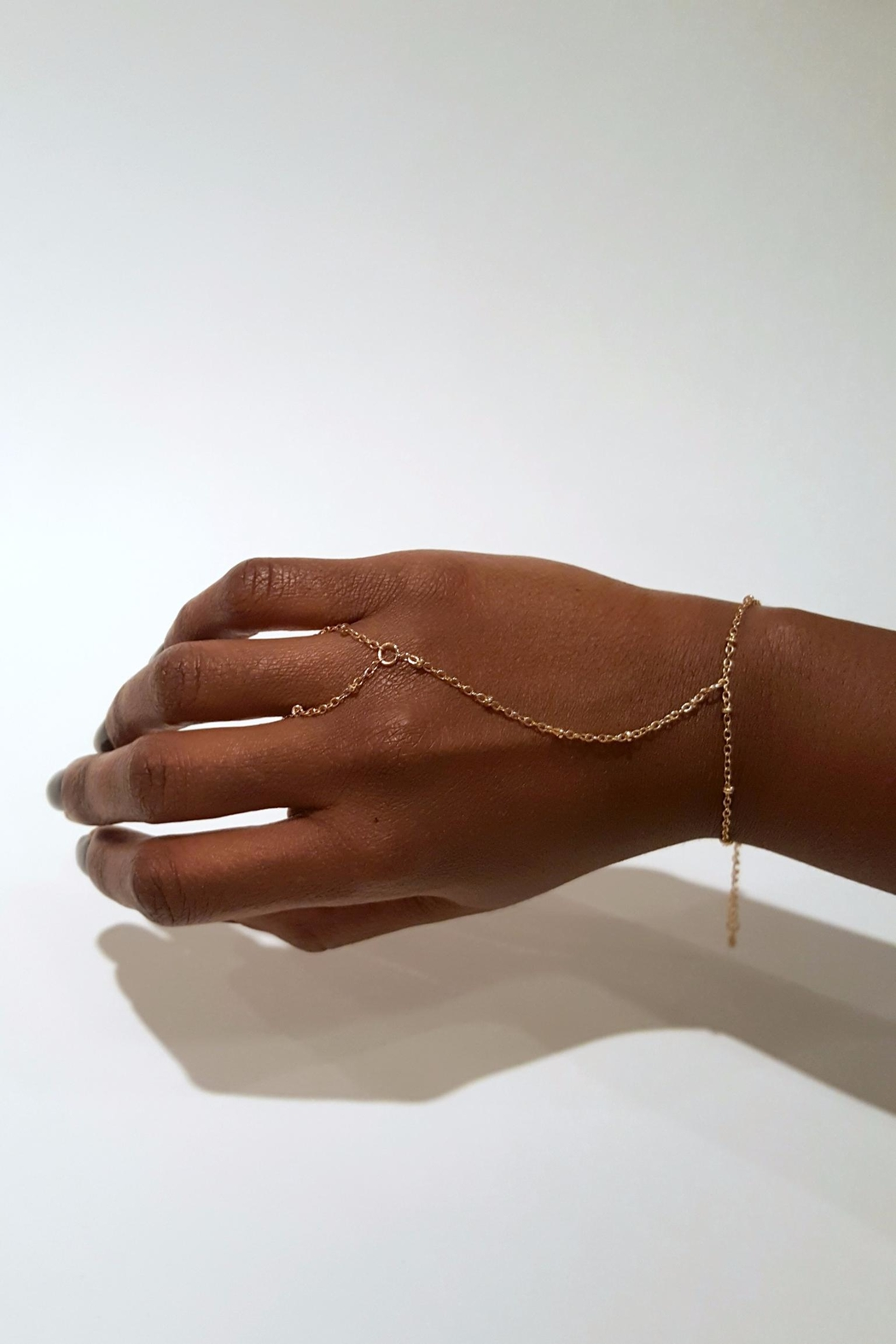 Simply Chic Gold Hand-Chain Bracelet - Front Full Image