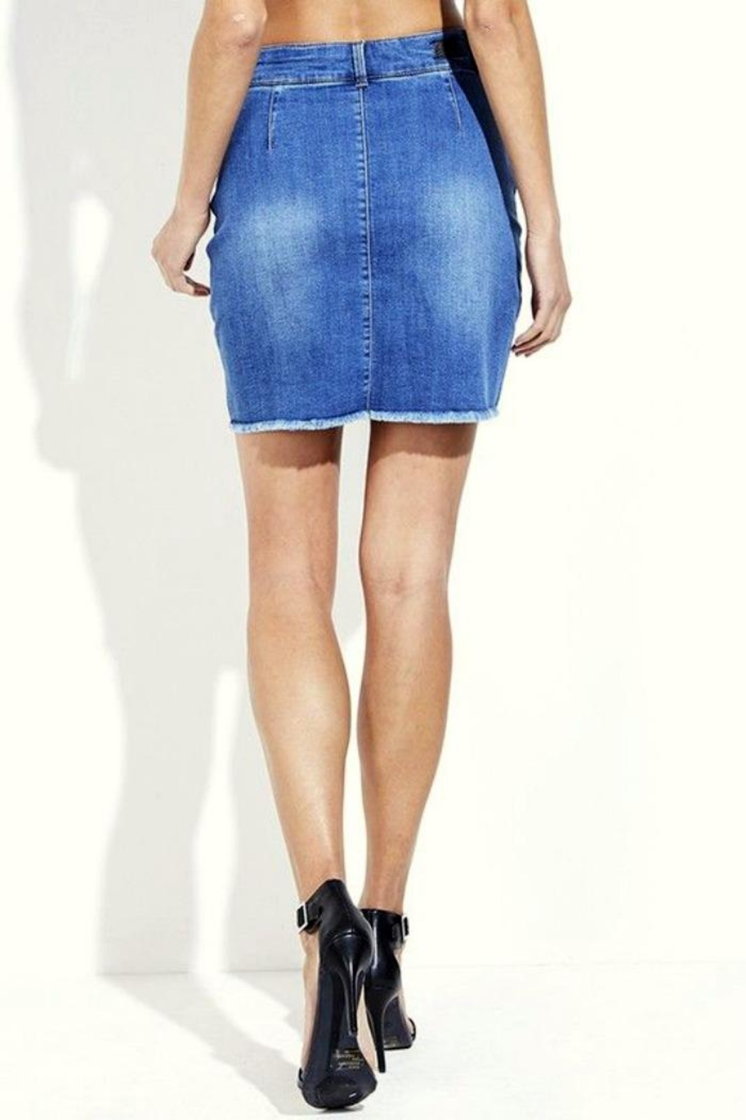 Simply Chic Lace Up Denim Skirt - Side Cropped Image