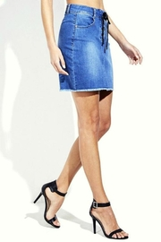 Simply Chic Lace Up Denim Skirt - Front full body