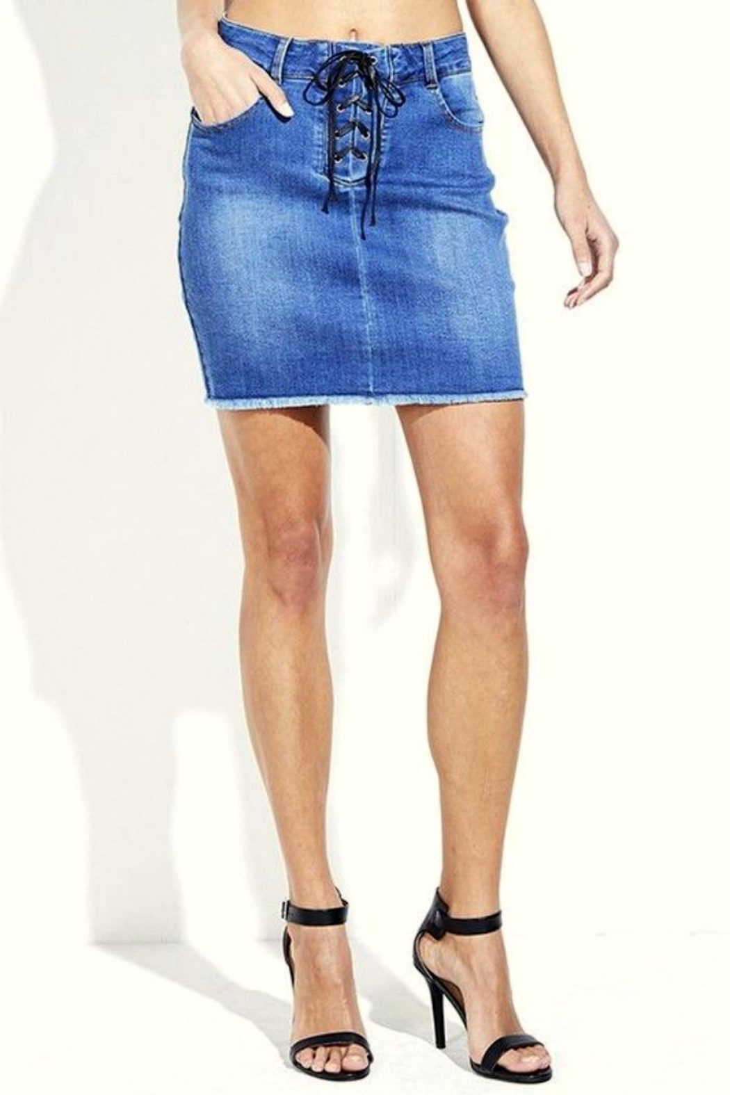 Simply Chic Lace Up Denim Skirt - Main Image