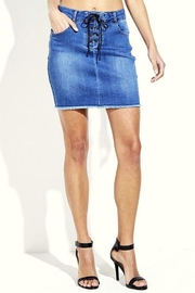 Simply Chic Lace Up Denim Skirt - Product Mini Image