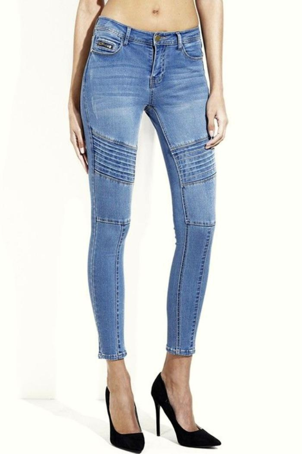 Simply Chic Moto Skinny Jeans - Main Image