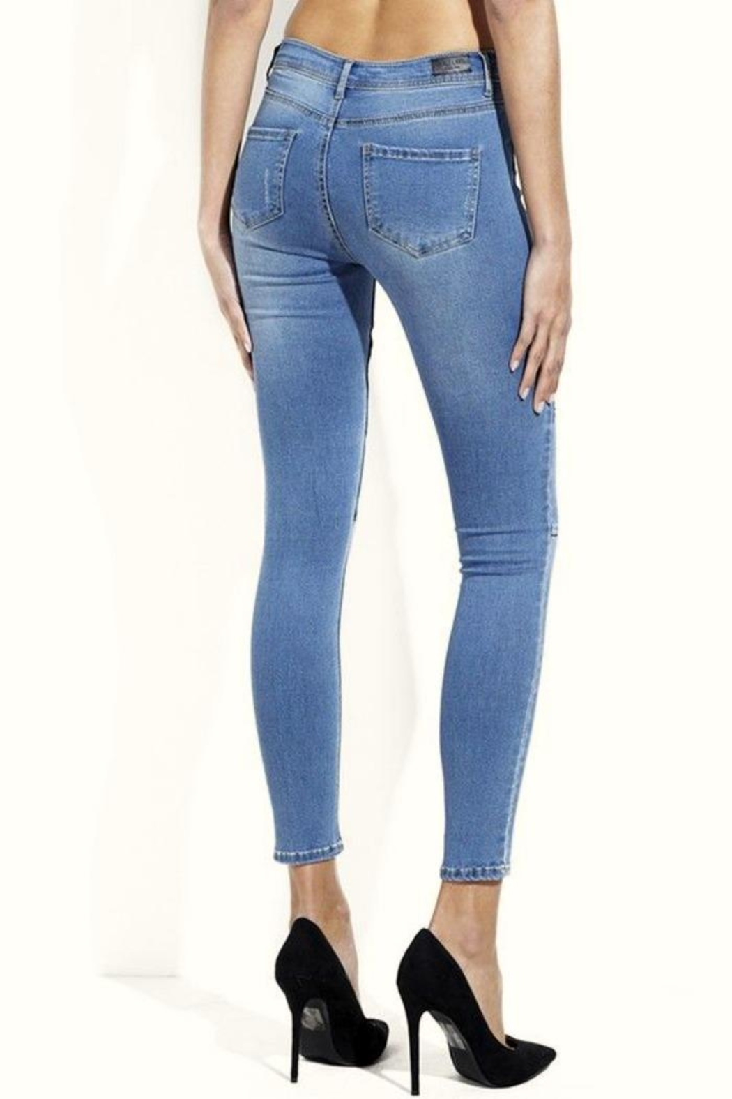Simply Chic Moto Skinny Jeans - Side Cropped Image