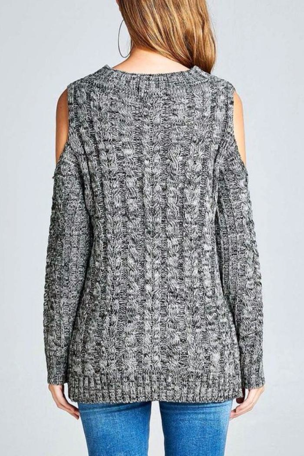 Simply Chic Open Shoulder Sweater - Front Full Image